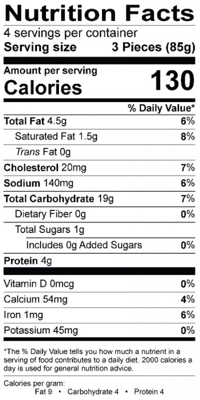Eggplant Artichoke Triangles Nutrition Label