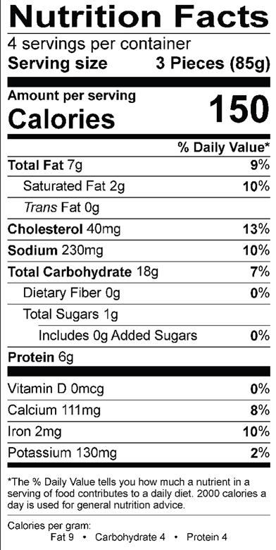 Spanakopita Nutrition Label