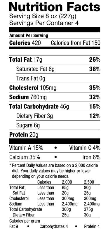 Veg Pastichio-Nutrition Label