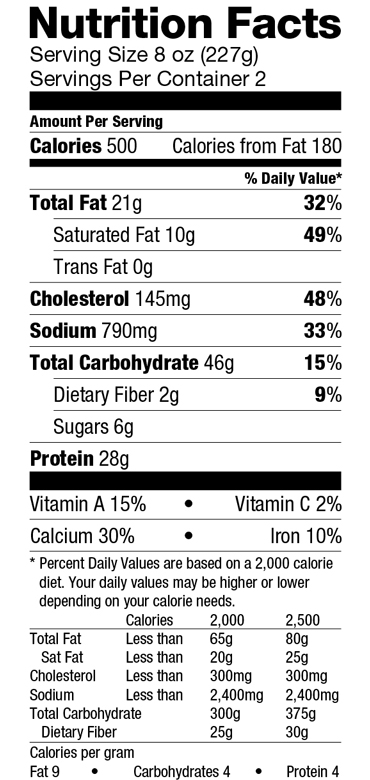 Serve Meat Pastichio Nutrition Label
