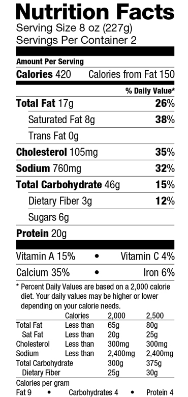 Serve Veg Pastichio-Nutrition Label