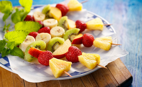 Fresh Fruit skewers, healthy and delicious snack