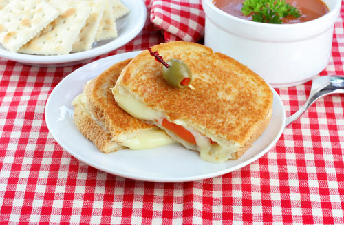Grilled Cheese and Tomato, Tomato Soup and a side of crackers for a delicious, healthy lunch or dinner
