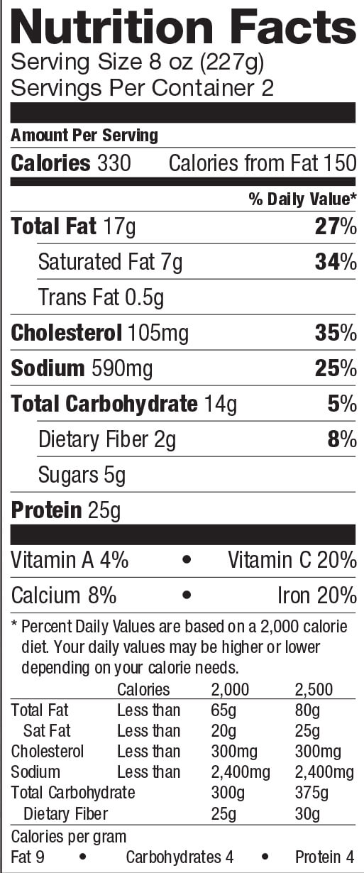 Cheese Tiropita Nutrition Label